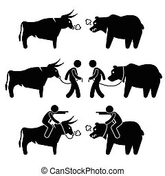 Businessman Bull and Bear - A set of human pictogram...