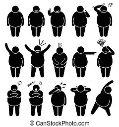 Fat Man Action Poses Postures - A set of human pictogram...