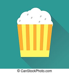 Pop Corn Flat Icon - Vector illustration of pop corn flat...