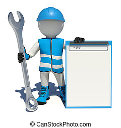 Worker in overalls holding wrench and clipboard. Isolated
