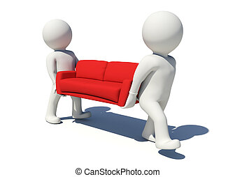 Two white people carrying red sofa Isolated render on white...