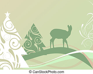 winter scene - christmas card - vector illustration of a roe...