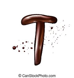 3d liquid chocolate letter T