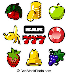 Various slot machine icons vector - Various slot fruit...
