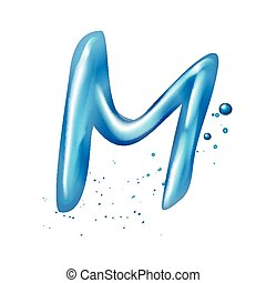 3d water letter M