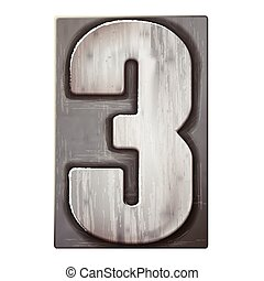 3d silver letterpress number 3 isolated on white background
