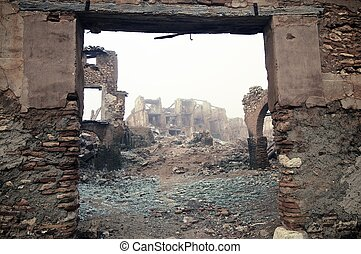 Belchite village destroyed in a bombing during the Spanish...