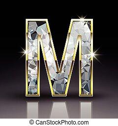 3d shiny diamond letter M