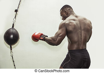 African male boxer punching ball wearing boxing gloves, back...