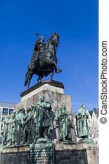 Friedrich, WILHELM, III, monument, in, keulen, Duitsland,