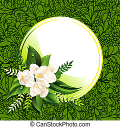 Vector fresh green spring background with flowers