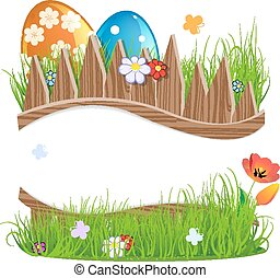 Easter eggs with grass and flowers - Colorful Easter eggs...
