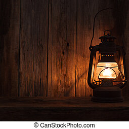 lantern lamp light dark wooden wall table background
