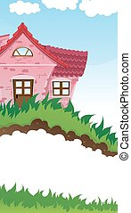 Rural house - Pink house with a tiled roof on a green...