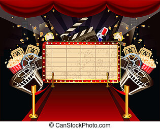 Illustration of theatre marquee with movie theme objects. -...