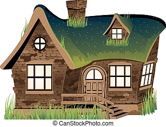 Stone house - Small stone house on white background