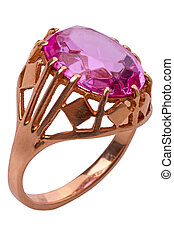 Ring with pink stone close-up - Ring with a pink stone...