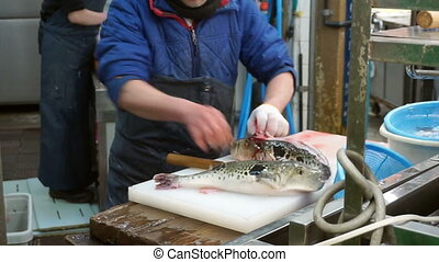 sashimi chef preparation live fish - fugu, pufferfish,...