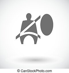 Seat belt Single flat icon on white background Vector...
