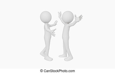 3d man open arms for hug isolated with white background