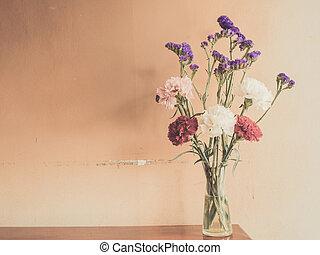 hermoso, verano, flores, en, Floreros, en, de madera, Plano...