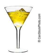 Yellow Alcoholic Cocktail in martini glass with ice....