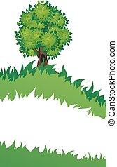 árvore, com, capim,