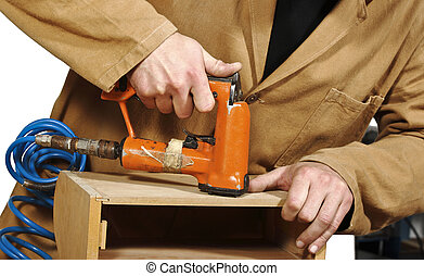 carpenter at work - fine closeup image of manual work in...