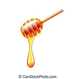 Honey stick with flowing honey isolated vector - Honey stick...