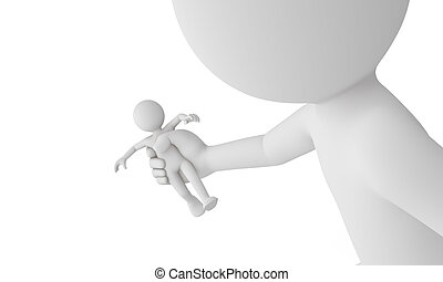 3d man get caught by giant man isolated with white...