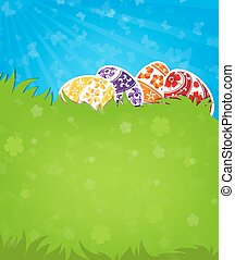 Eggs on a green meadow