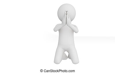 3d man praying with god isolate with white background