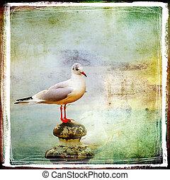 Sea Gull - Artistic Retro Styled Picture
