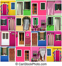 abstract house made of images from colorful Burano village,...
