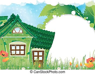 Rural house - Green house with a tiled roof on a sunny...