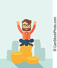 Happy Businessman - An overjoyed young hipster Caucasian man...