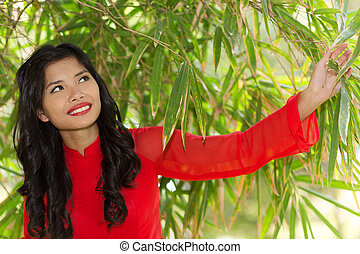 Asian woman in red Ao Dai traditonal dress posing under a...