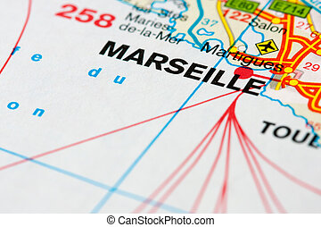 Map around Marseille - Close up of a map near Marseille,...