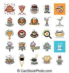 più grande, collezione, di, vettore, logos, cibo,