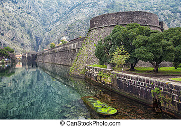 Old fortress of Kotor, Montenegro in late Autumn. Tower and...