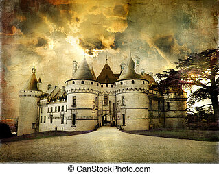 Chaumont,France. - Medieval Castle in Retro Style