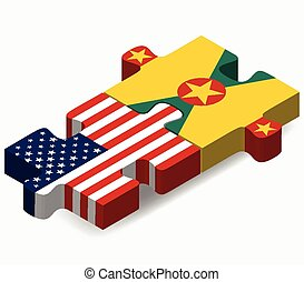 USA and Grenada Flags in puzzle - Vector Image - USA and...