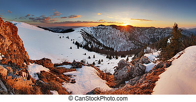 Slovakia winter mountain at sunset - Velka Fatra