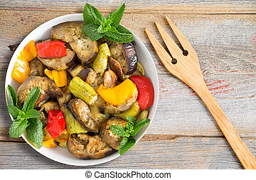 Grilled and Sauted vegetables including eggplants, zucchini,...