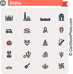 India travel icon set - Set of the India traveling related...