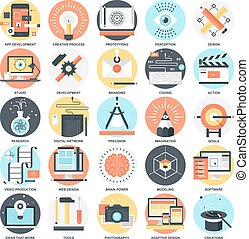Creative Process - Abstract vector collection of colorful...