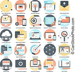 SEO and Development - Abstract vector collection of colorful...