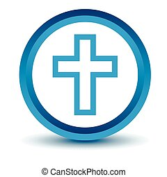 Blue Protestant Cross icon on a white background. Vector...