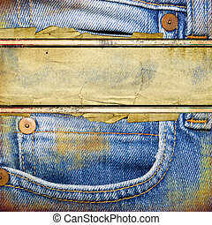 Old Jeans Background - Denim vintage background with place...