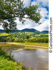 Mountain vilage landscape - Mountain landscape with river...